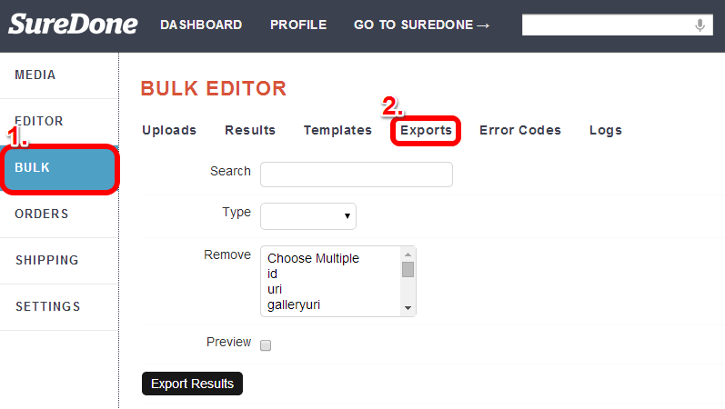 find exports table in SureDone