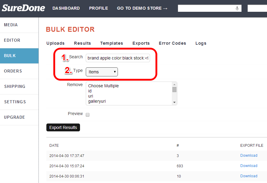 enter search query and type (items) for bulk export