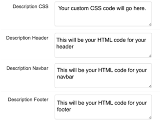 Paste custom CSS & HTML in these boxes