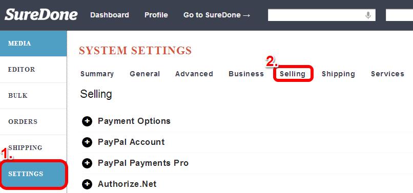 selling settings