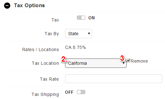remove tax options on SureDone