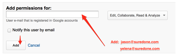 Google Analytics Permissions Page
