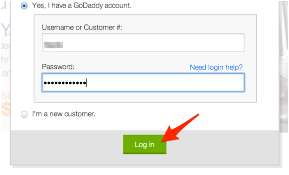 login to godaddy