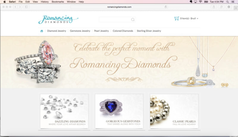 Romancing Diamonds SureDone Hosted Website