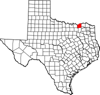 Small map of Fannin county