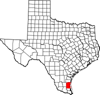 Small map of Kenedy county