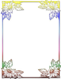 free rainbow floral ms word stationery