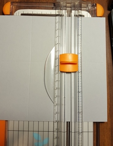 Close up of cut line for card in a box