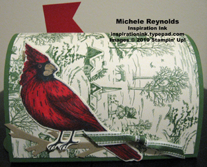 Toile christmas mail box cardinal side