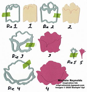 Prized peony flower die pieces watermark