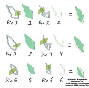 Prized peony leaf die pieces watermark
