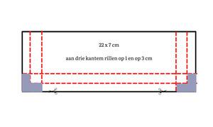 22 x 7 cm aan drie kantem rillen op 1 en op 3 cm (1)