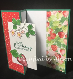 Sweet strawberry trifold side view