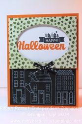 Card 229b halloween street holiday home tall