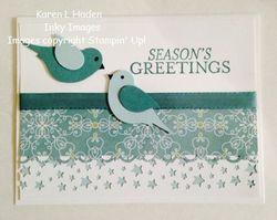 Holiday blue birds card