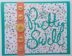 Orange teal pretty swell confetti card