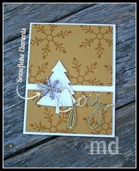 Wood snowflake joy card e