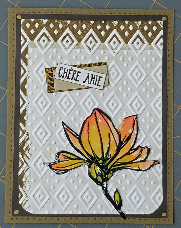 Boho chic 3x letterpress chere amie with dots