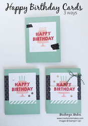 Happy birthday cards 3 ways