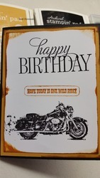 Birthday card front with motorcycle