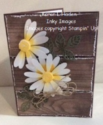 Daisy wood card vertical