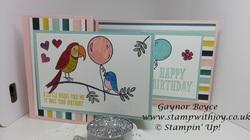 Bird banter fun fold card stampin  up  gaynor boyce stamp with joy x