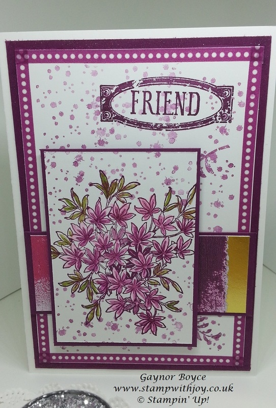 Awesomely artistic friend card stampun  up  gaynor boyce stamp with joy