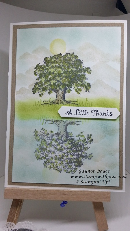 Lovely as a tree mirror image thank you card stampin  up