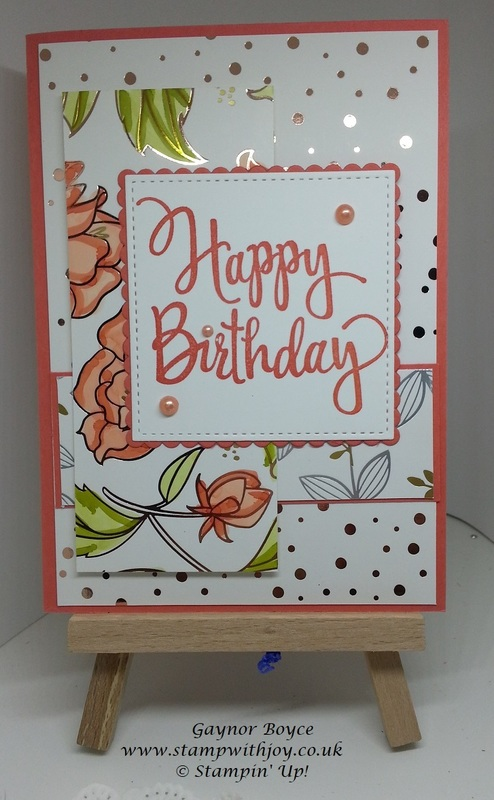 Springtime foils birthday card stampin  up  gaynor boyce stamp with joy