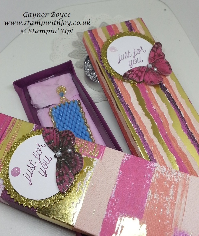 Bracelt boxes using painted with love dsp stamp with joy gaynor boyce stampin  up