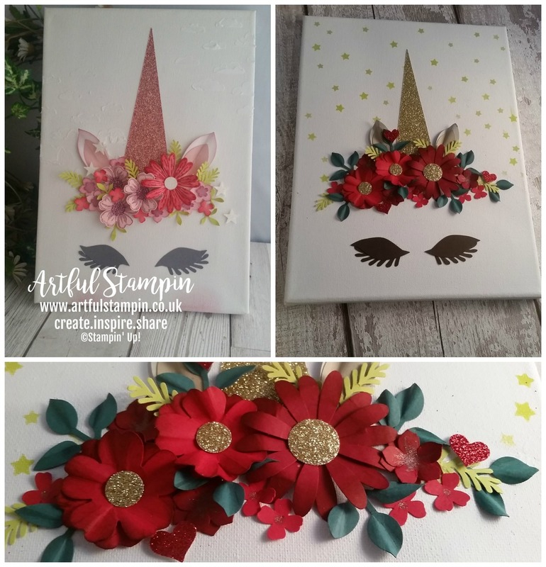 Artful stampin up unicorn canvas altered art mixed media pink christmas blog