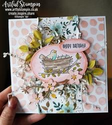 Artful stampin up flying home birds nest 3d mixed media card blog