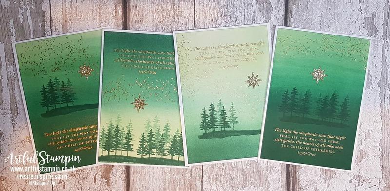 Artful stampin up christmas challenge stampathon 2018 cards sparkle shine blog collection