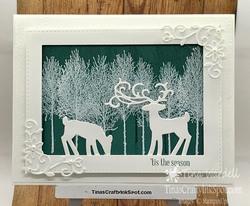 Dashing deer winter woods
