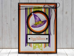 Cauldron bubble witch hat halloween card