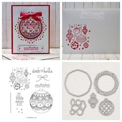 Detailed baubles christmas window card