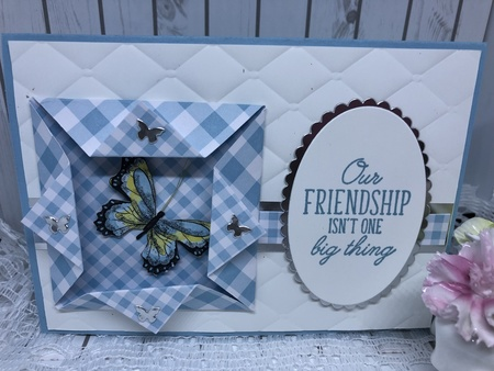 Gingham and butterfly friendship card outside