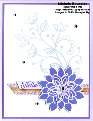 Flourishing phrases purple posy hello watermark
