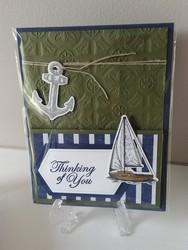 Sailing home easel card