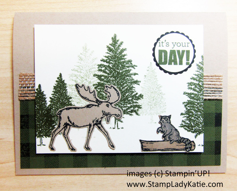 Merry moose and raccoon birthday card