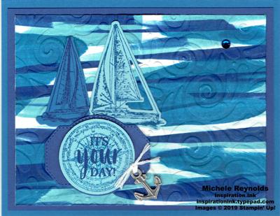 Sailing home boat waves watermark