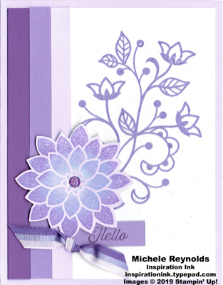 Flourishing phrases tricolor purple flower watermark