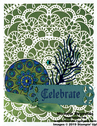 Painted glass peacock mandala celebration watermark