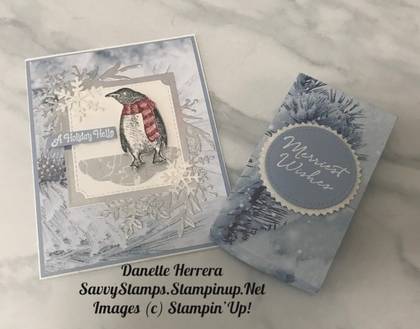 Playful penguins gift tags and box with coordinating card