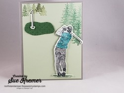 Male golfer die cut card