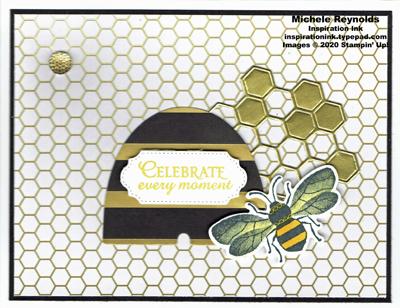 Honey bee golden honeycomb watermark