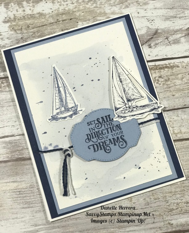 A simple pop up card with the sailing home stamp set and smooth sailing dies