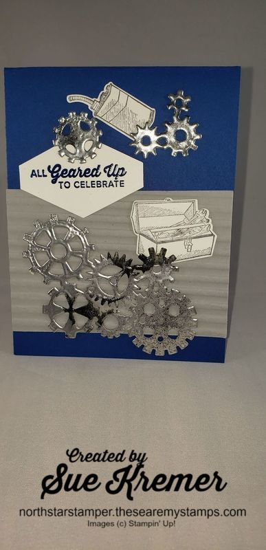 Faux metal gears on card