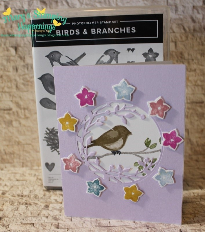 Birds   branches purple posy flower circle 1a