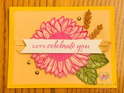 Magenta sunflower celebrate you card